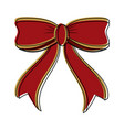 ribbon bow in red and gold christmas related icon vector image vector image