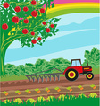 rural landscape - tractor and orchard vector image