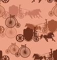 seamless pattern horse carriages and bicycles vector image