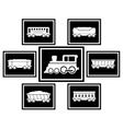 set icons for railway transportation vector image vector image