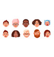 set of faces crying person different sad people vector image vector image