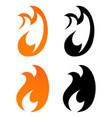 set of icons - flames of fire in orange and black vector image