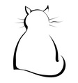 Silhouette of a black cat on a white background vector image vector image