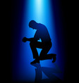 silhouette of a man praying vector image vector image
