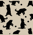 silhouettes of cats background seamless vintage vector image vector image
