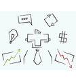 Sketch line art business icons vector image vector image