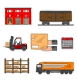 Storage and delivery service elements vector image vector image