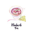 watercolor cup rhubarb tea vector image vector image