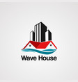 wave house logo with skyline building element vector image vector image