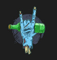 zombie hand holding beer tattoo vector image vector image