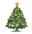 Christmas tree with toys and gold star on top vector image