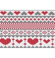 knitted pattern with hearts vector image