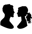 man and woman faces silhouette vector image