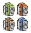 set colorful touristic backpacks vector image