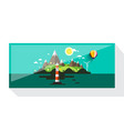 abstract picture island with hills and vector image vector image