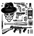 alien gangster and weapons set monochrome vector image