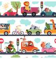 animal transport pattern transportation funny vector image