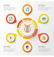 audio flat icons set collection of media vector image vector image