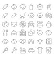 baby shower thin line icon set with avatar vector image