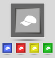 Baseball cap icon sign on original five colored vector image