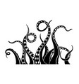 black silhouette octopus tentacles vector image vector image