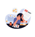 business woman worried while analyzing her debts vector image