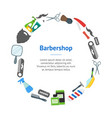 cartoon barbershop shop banner card circle vector image vector image