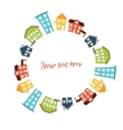 Circular frame of bright cute houses vector image
