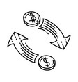 exchange icon doodle hand drawn or outline icon vector image