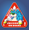 funky unicorn into a triangle warning sign vector image