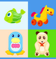 funny animal toys in colored squares vector image vector image