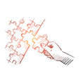 hand drawn human arm completing puzzle vector image vector image