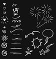 hand drawn set elements white on black vector image vector image