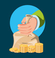 hand with bag of money vector image vector image