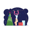 happy man in funny mouse ears on head holding vector image vector image