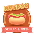 hot dog or label for menu vector image