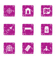 hunt icons set grunge style vector image