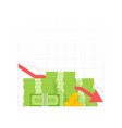 icon pile cash red recession graph vector image