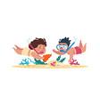 kids diving cartoon children swimming underwater vector image
