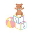kids zone toys teddy bear ball and blocks cartoon vector image