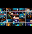 large set different space scenes vector image vector image