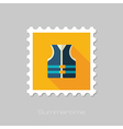 Life jacket flat stamp Summer Vacation vector image