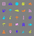 Map sign color icons on gray background vector image vector image
