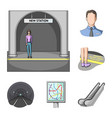 metro subway cartoon icons in set collection for vector image vector image