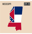 mississippi map border with flag eps10 vector image vector image