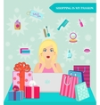 Online shopping girl She shocked by discounts vector image vector image