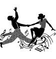 Retro dancing silhouette vector image vector image