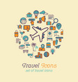 round line travel icons concept for traveling vector image vector image