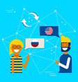 russian and american online chat translation vector image vector image