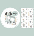 set of cute hand drawn moose and seamless vector image vector image